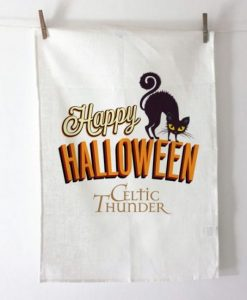 BLACK CAT HALLOWEEN Tea Towel / Dish Cloth