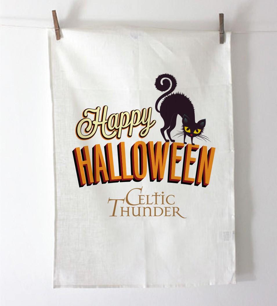 BLACK CAT HALLOWEEN Tea Towel / Dish Cloth
