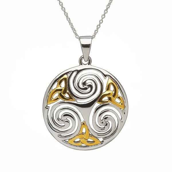 LARGE CELTIC TRISKELE PENDANT IN STERLING SILVER WITH GOLD PLATED DESIGN
