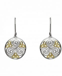 CELTIC TRISKELE EARRINGS IN STERLING SILVER WITH GOLD DETAIL