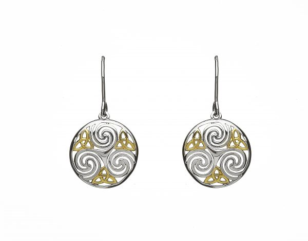 7d18a3246 Celtic Triskele Earrings In Sterling Silver With Gold Detail – Celtic  Thunder Store