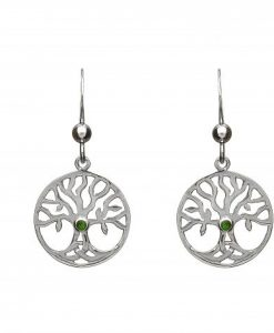 STERLING SILVER TREE OF LIFE EARRINGS WITH GREEN CENTRE STONE
