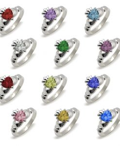 Classic Claddagh Birthstone Ring