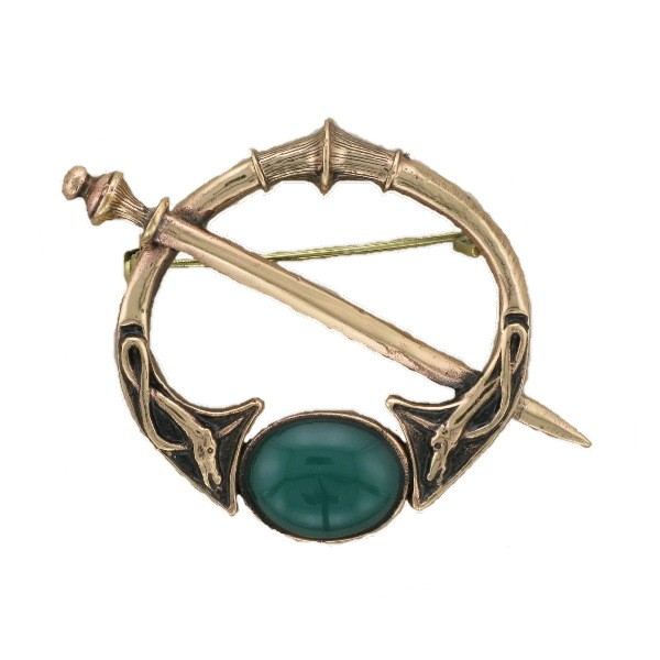 BRONZE CELTIC BROOCH WITH GREEN STONE