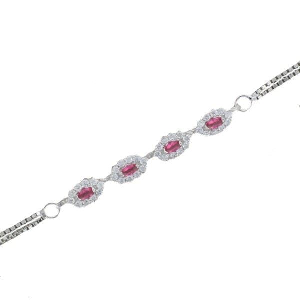 STERLING SILVER BRACELET WITH RUBY AND DIAMOND CZs