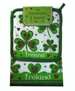 Shamrocks & Hearts Tea Towel & Pot Holder