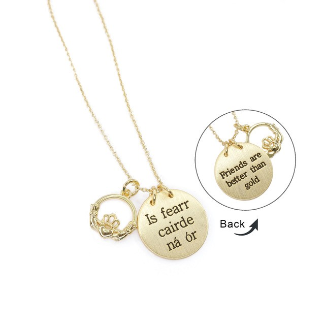 Friends are better than Gold - Is fearr Cairde nÌÁ ÌÒr beautiful Rose Gold plated pendant