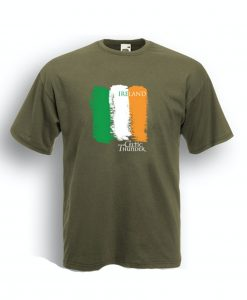 CELTIC THUNDER IRISH FLAG SHIRT / OLIVE GREEN