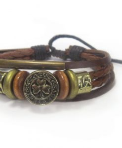 Genuine Brown Leather Bracelet with Trinity and Shamrock