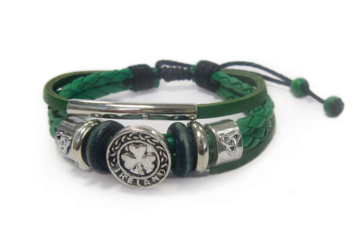 Genuine Green Leather Bracelet with Trinity and Shamrock