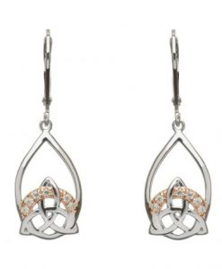 SILVER TRINITY DROP EARRINGS WITH CZ SET IN ROSE GOLD