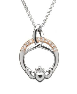 SILVER TRINITY CLADDAGH PENDANT WITH CZ SET IN ROSE GOLD