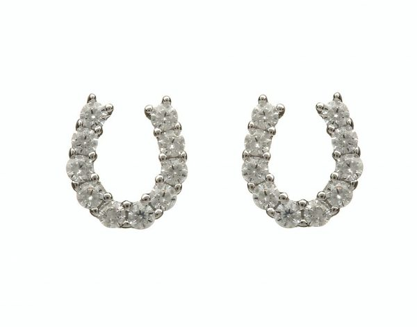 HORSE SHOE CZ EARRINGS
