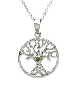 Tree Of Life Pendant With Green Centre Stone
