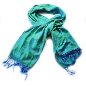 Blue/Green Shamrock Design Pashmina Scarf