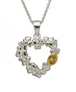 Heart Shaped Shamrock Pendant With Emerald