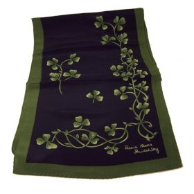 Silk Navy & Green Shamrock Sprig Scarf