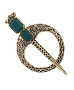 Bronze Tara Brooch With Celtic Knots & Green Agate