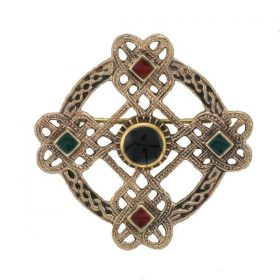 Bronze Trinity Knot Brooch With Green Agate, Carnelian And Onyx