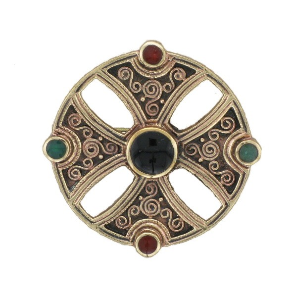 Bronze Triskele Design Brooch With Green Agate, Carnelian And Onyx
