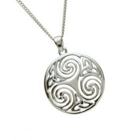 Large Celtic Triskele Pendant In Sterling Silver