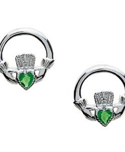Claddagh Post Earrings With Emerald Heart