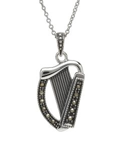 Sterling Silver Harp With Marcasite Stones