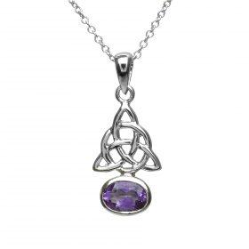 Sterling Silver Celtic Knots Amethyst Cz Pendant