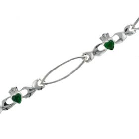 Claddagh Bracelet With Emerald Hearts