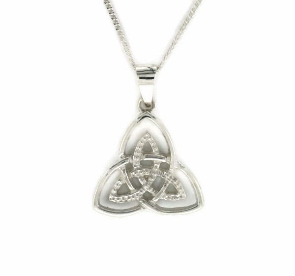 Double Trinity Knot Pendant With Diamond Centre