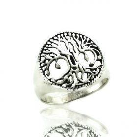 Silver Tree Of Life Design Ring