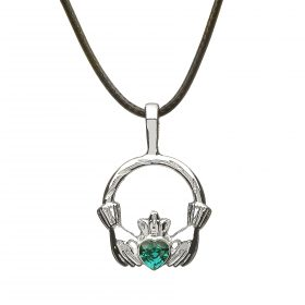 Claddagh With Green Heart Stone Necklace