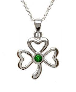 Sterling Silver Emerald Shamrock Pendant