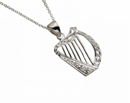 Sterling Silver White Cz Celtic Harp Pendant