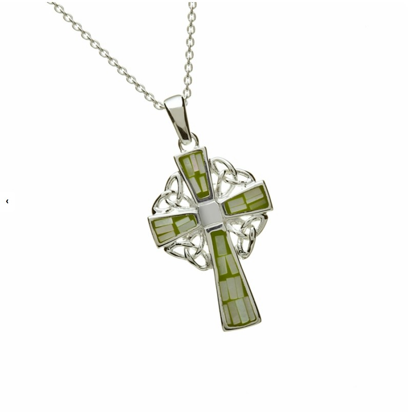 Celtic Cross With Green Mosaic Inlay, Sterling Silver