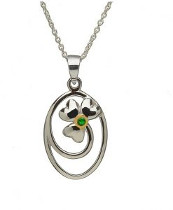 Shamrock Swirl Pendant With Irish Green Cz Stone