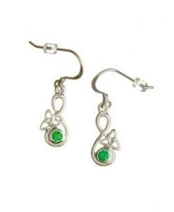 Drop Earrings With Trinity Knot In Sterling Silver And With Green Agate Stone