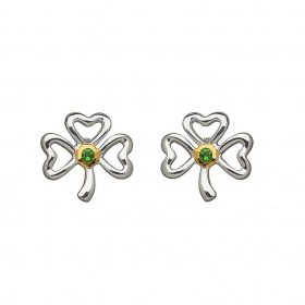 Shamrock Earrings With Emerald Stone