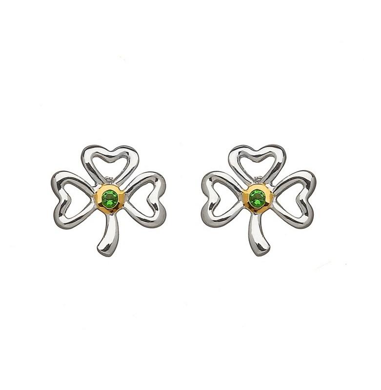 Shamrock Earrings With Emerald Stone