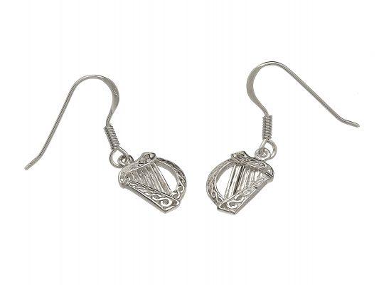 Irish Harp Drop Earrings