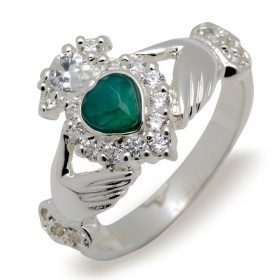 Classic Claddagh Ring With Diamonds And Emerald Heart