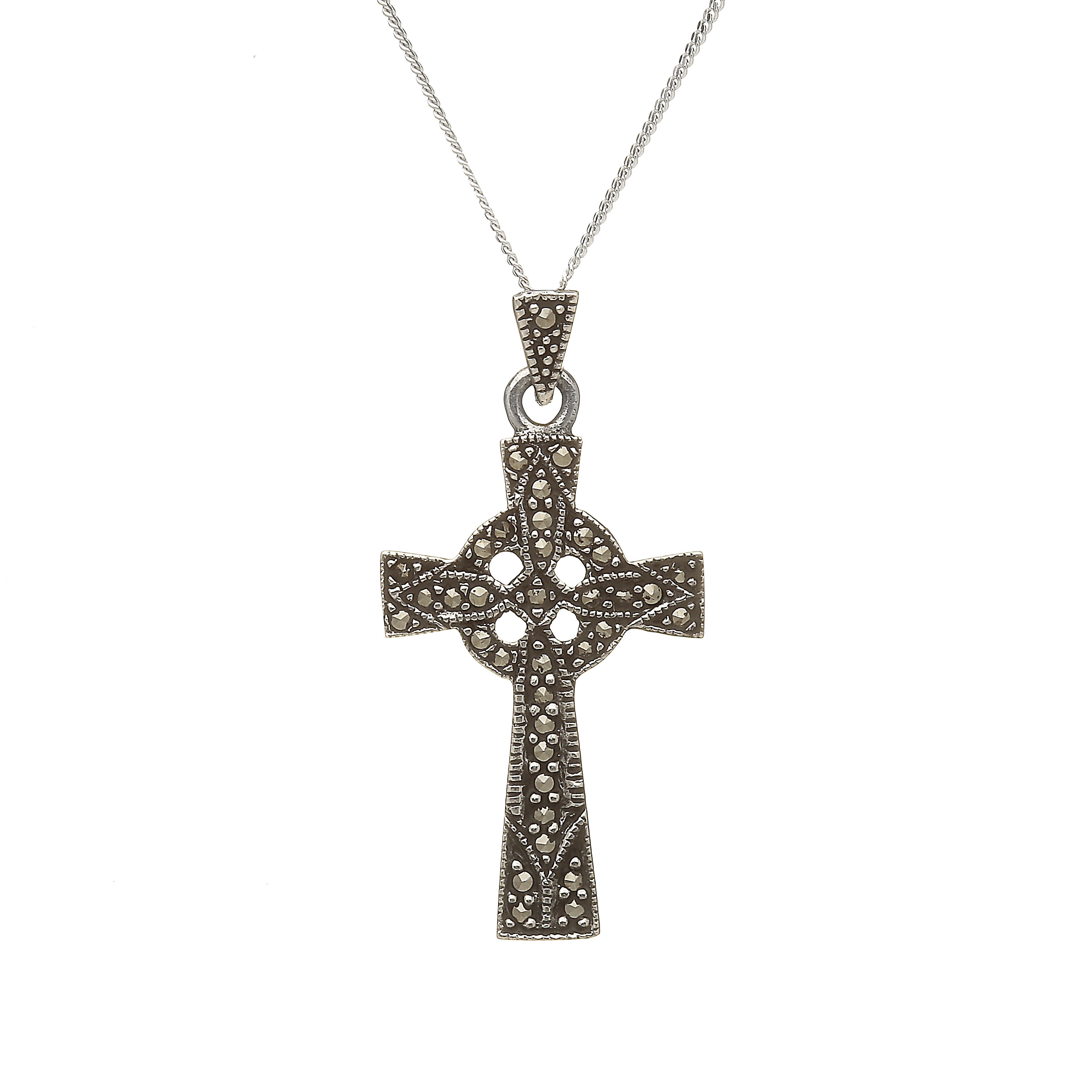 pendant charm necklace cross celtic rose gold