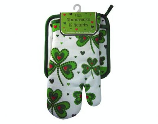 Shamrock & Hearts Oven Mitt & Pot Holder