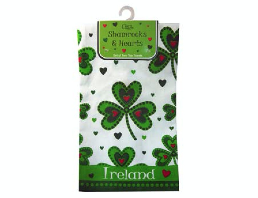 2 Shamrocks & Hearts Tea Towels