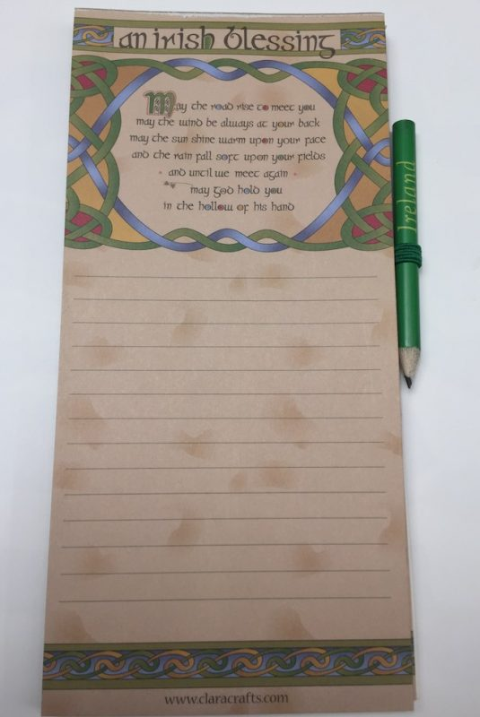 Irish Blessing Magnetic Fridge Memo Pad