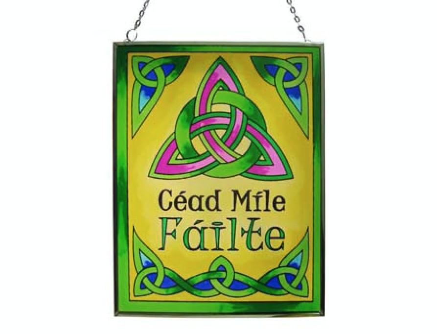 Cead Mile Failte Stained Glass Suncatcher