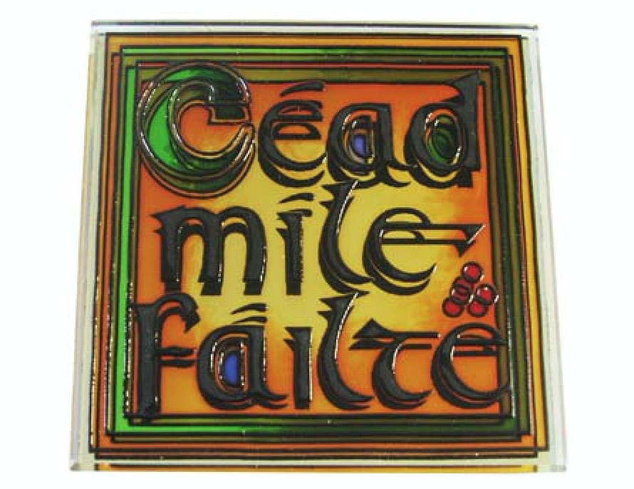 Failte Stained Glass Mirror Fridge Magnet