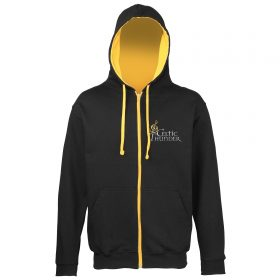 Black And Gold Musical Note Embroidered Hoodie