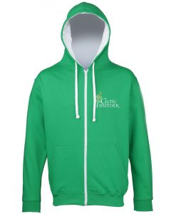 Kelly Green & White Musical Note Embroidered Hoodie