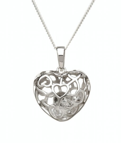 Sterling Silver 3D Heart Pendant With Diamond Cz